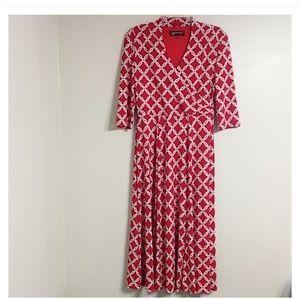 Jones New York Red White Chain Print Long Dress 4
